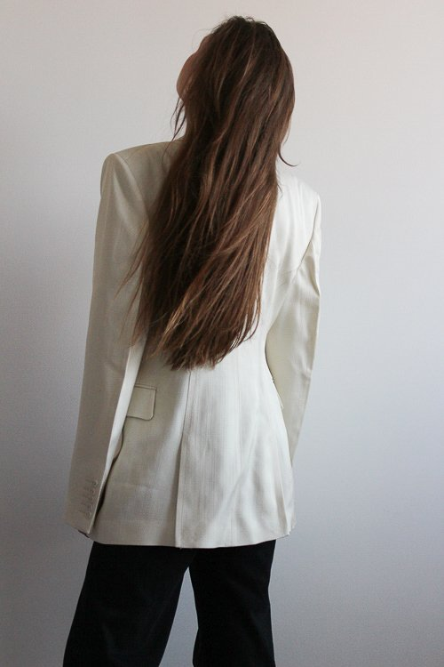 allykraw long hair flip wearing strong shoulder ivory blazer h&m studio