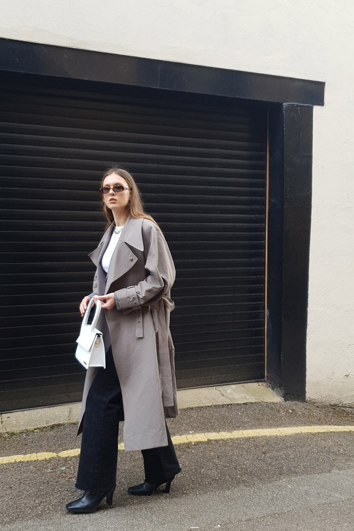 trench coat look styled with it-bag